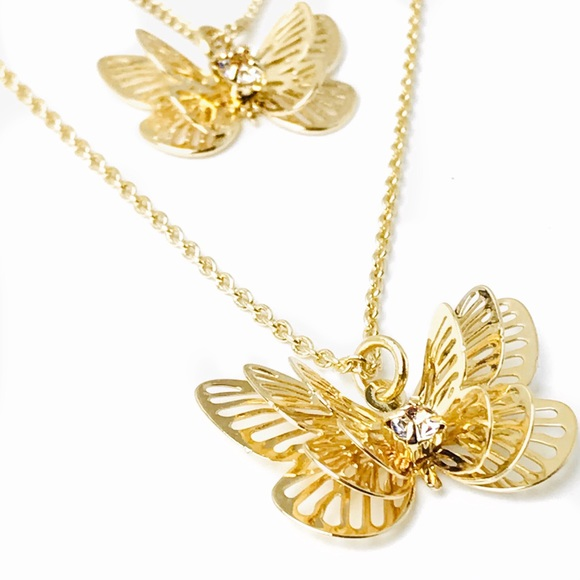 LC Lauren Conrad Jewelry - Double Pendant Layered Goldtone Butterfly Necklace
